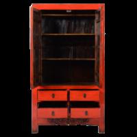 Antieke Chinese Bruidskast Rood Glossy +/- B103x49xH186cm