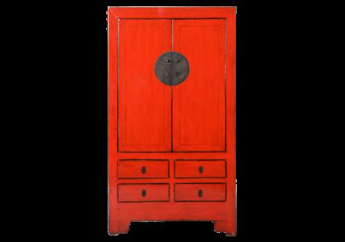 Fine Asianliving Antiker Chinesischer Hochzeitsschrank Rot B103xT49xH186cm