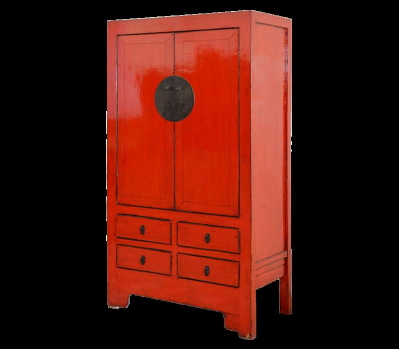 Antiker Chinesischer Hochzeitsschrank Rot B103xT49xH186cm