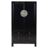 Fine Asianliving Antique Chinese Wedding Cabinet Black Glossy approx. W103x49xH186cm