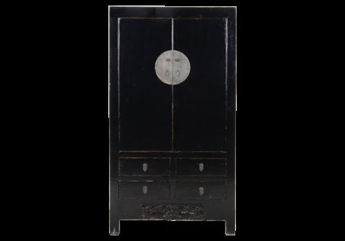 Fine Asianliving Antieke Chinese Bruidskast Zwart Glossy +/- B103x49xH186cm