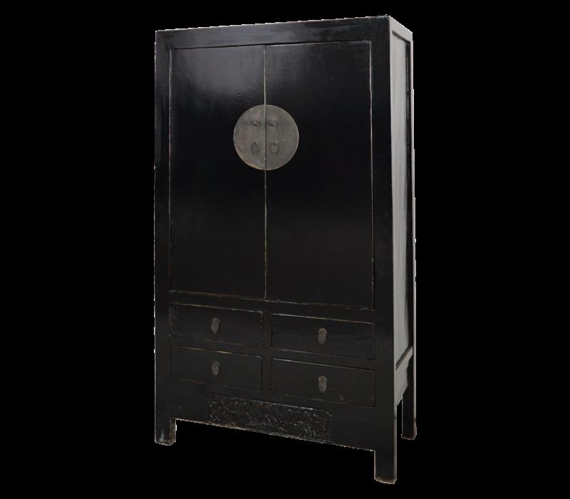 Antieke Chinese Bruidskast Zwart Glossy +/- B103x49xH186cm