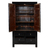 Antique Chinese Wedding Cabinet Black Glossy approx. W103x49xH186cm