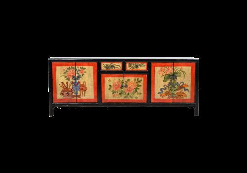Fine Asianliving Antiker Chinesischer Schrank Handgemalt B145xT38xH57cm