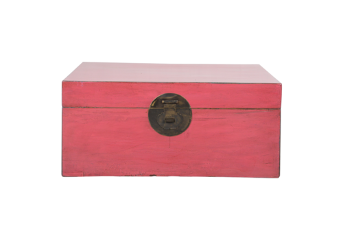 Fine Asianliving Antique Chinese Chest Rose Pink Glossy W93xD60xH43