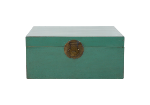 Fine Asianliving Antique Chinese Chest Pine Green Glossy W93xD60xH43