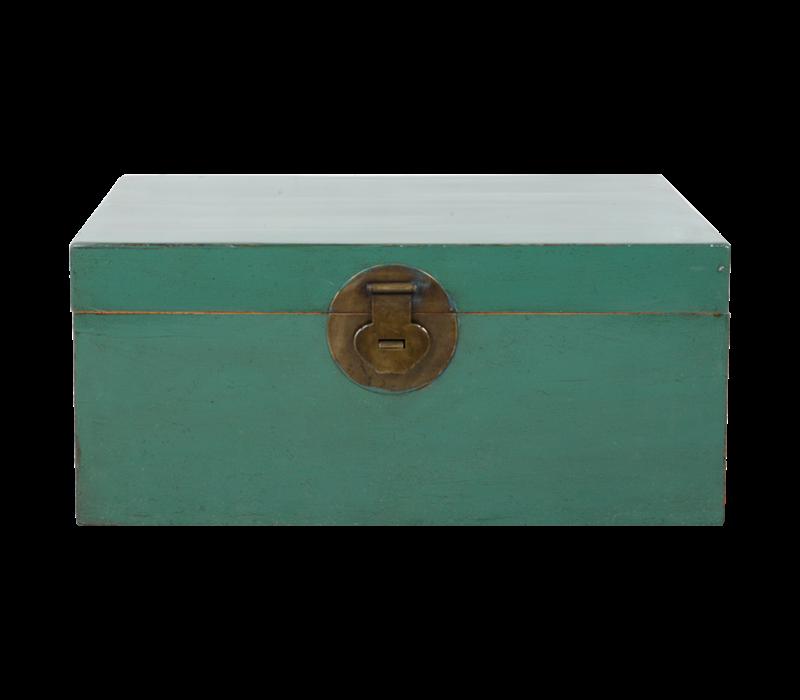 Antieke Chinese Kist Pine Groen Glossy B93xD60xH43
