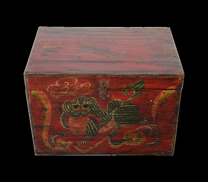 Antieke Chinese Kist Handgeschilderd Chinese Mythe