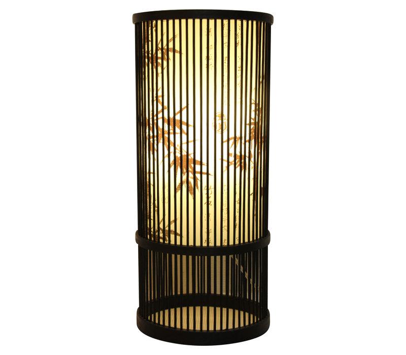 Bamboe Tafellamp Zwart Elijah D18xH42cm