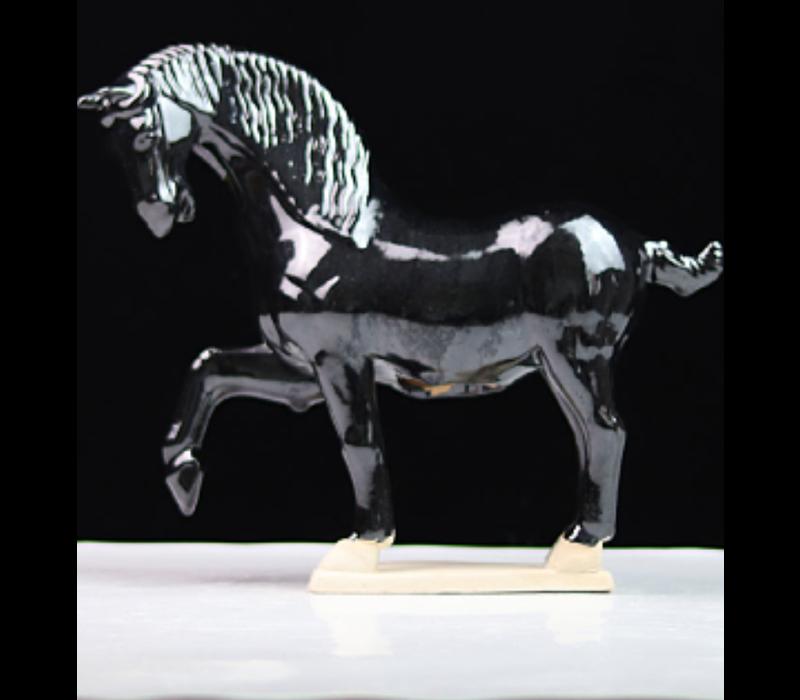 Keramiek Chinese Tang Dynastie Paard Zwart Handgemaakt B41xD15xH41cm