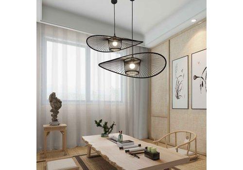 Fine Asianliving Pendelleuchte Hängelampe Bambus Schwarz Handgefertigt Eugene D70xH16cm