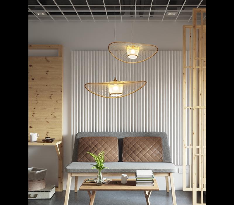 Bamboo Pendant Light Elenoire D70xH16cm
