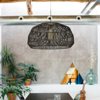 Bamboe Hanglamp Zwart - Andy D53xH30cm