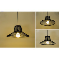 Bamboe Hanglamp Zwart D50xH22cm Miller