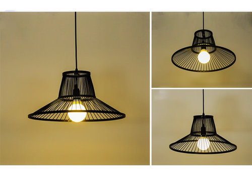 Fine Asianliving Bamboe Hanglamp Zwart D50xH22cm Miller