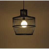 Bamboe Hanglamp Zwart D34xH35cm Melvin