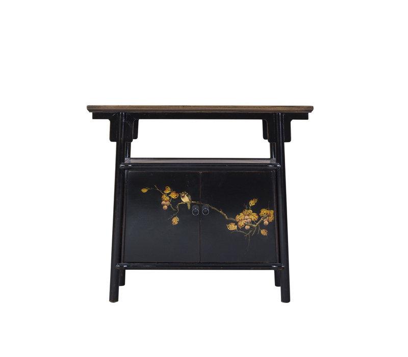 Chinese Kast Zwart Handgeschilderd B98xD36xH86cm