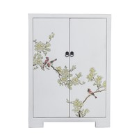 Chinese Kast Wit Handgeschilderd Bloesems B80xD35xH99cm