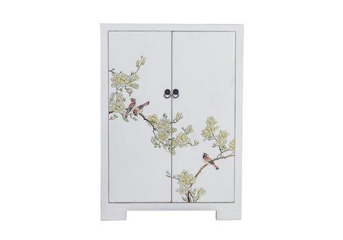 Fine Asianliving Chinesischer Schrank Weiß Handbemalte Blüten B80xT35xH99cm