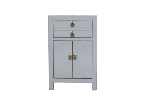 Fine Asianliving Chinese Bedside Table Pastel Grey W40xD32xH60cm
