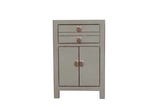 Fine Asianliving Chinese Bedside Table Olive Grey W40xD32xH60cm