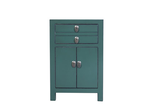 Fine Asianliving Chinese Bedside Table Pine Green W40xD32xH60cm