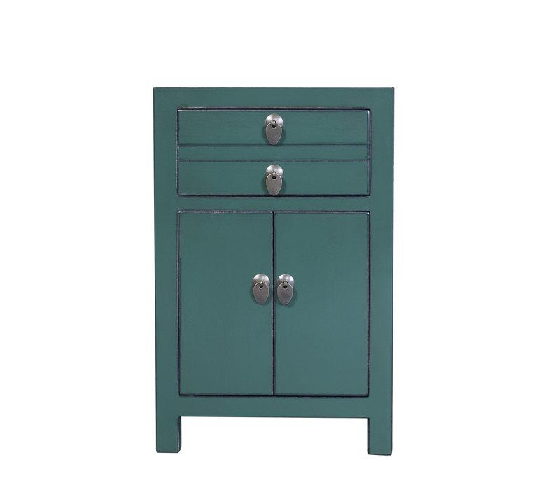 Chinese Nachtkastje Pine Groen B40xD32xH60cm