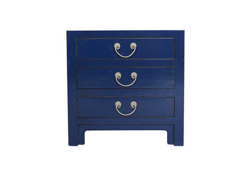 Fine Asianliving Chinese Bedside Table Midnight Blue Bamboo Webbing W60xD40xH60cm