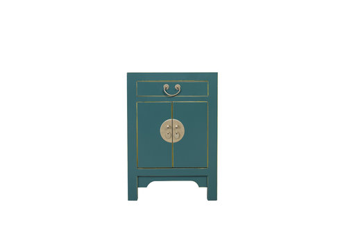 Fine Asianliving Chinese Nachtkastje Teal Blauw B42xD35xH60cm