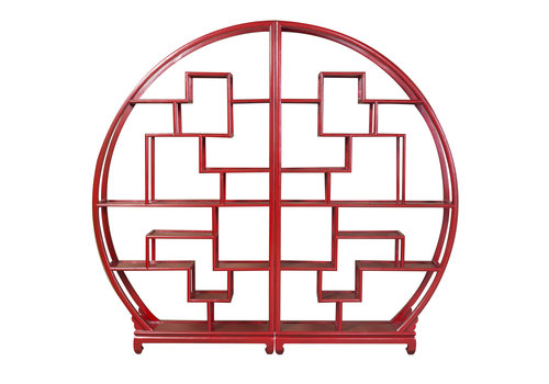 Fine Asianliving Chinese Ronde Open Display Kast Lucky Rood B176xH192cm