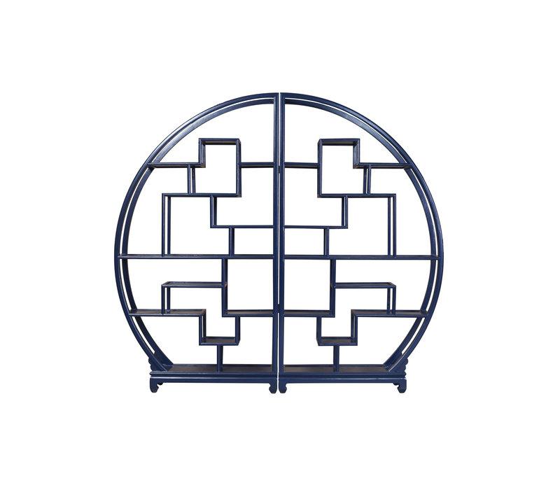 Chinese Ronde Open Display Kast Midnight Blauw B176xH192cm
