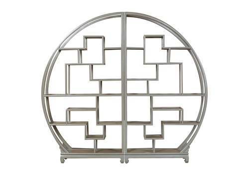 Fine Asianliving Chinese Ronde Open Display Kast Olijf Grijs B176xH192cm