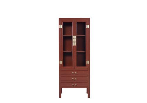 Fine Asianliving Chinesisches Bücherregal Glastürenschrank Scarlet Rouge B70xT40xH182cm - Orientique Collection