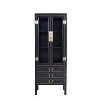Chinese Boekenkast Glazen Deuren -  Onyx Zwart B70xD40xH182cm - Orientique Collection