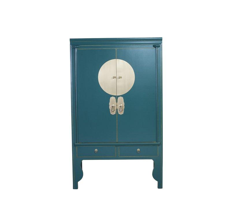 Chinese Bruidskast Blauw Teal Blauw - Orientique Collection B100xD55xH175cm