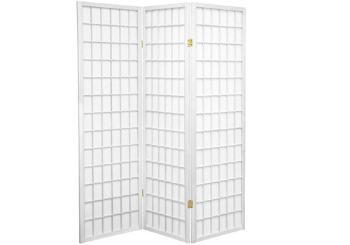Fine Asianliving Japanese Room Divider 3 Panel W135xH180cm Privacy Screen Shoji Rice-paper White