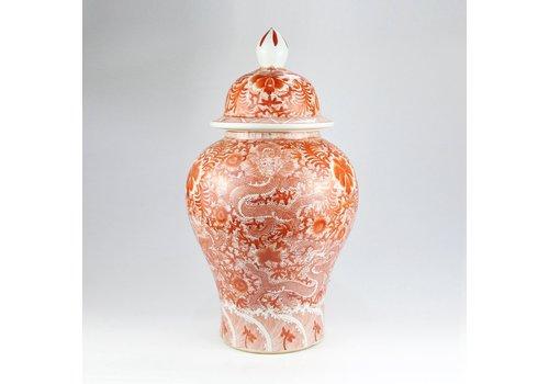 Fine Asianliving Chinese Gemberpot Draak Rood Handgeschilderd D33xH61cm