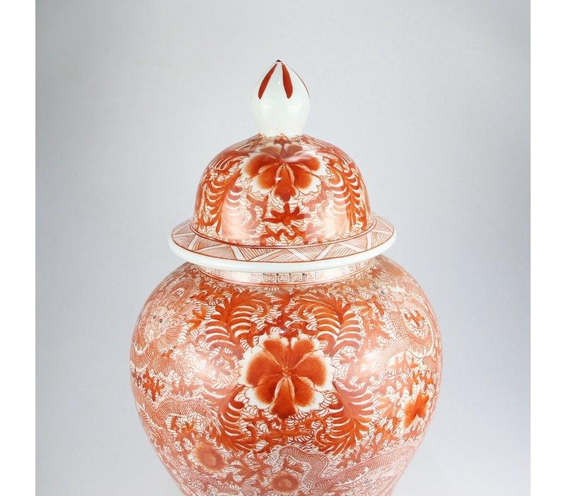 Chinese Gemberpot Draak Rood Handgeschilderd D33xH61cm
