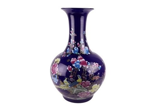 Fine Asianliving Chinese Vaas Porselein Navy Bloesems D37xH58cm