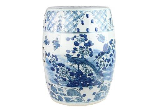Fine Asianliving Ceramic Garden Stool Blue White Handpainted D33xH45cm