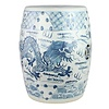 Fine Asianliving Keramiek Tuinkruk Blauw Wit Handgeschilderd Draak D33xH45cm