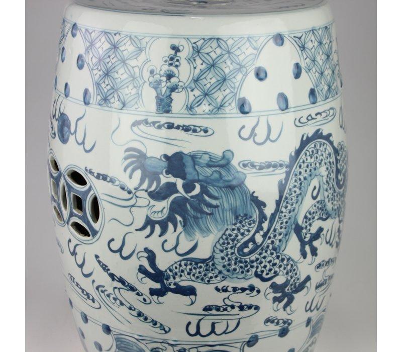 Keramiek Tuinkruk Blauw Wit Handgeschilderd Draak D33xH45cm