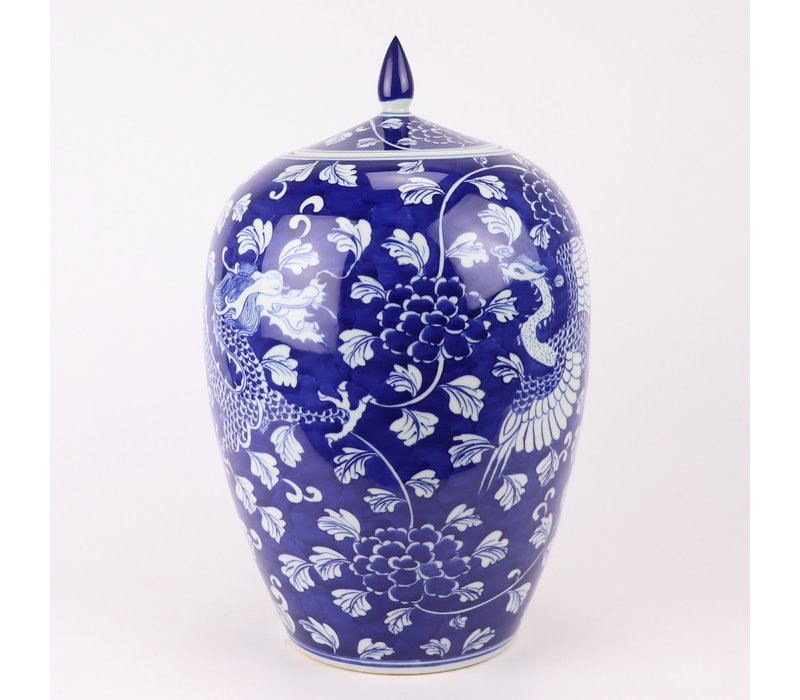 Chinese Gemberpot Blauw Handgeschilderd Draak Phoenix D22xH35cm