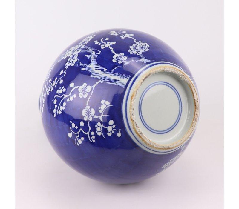 Chinese Vaas Porselein Blauw Handgeschilderd Bloesems D22xH36cm