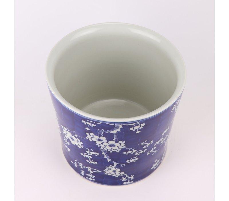 Chinese Bloempot Blauw Handgeschilderd Bloesems D22xH20cm