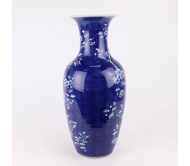 Chinese Vaas Blauw Handgeschilderd Bloesems D20xH44cm