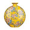 Fine Asianliving Chinese Vaas Handgeschilderd Geel B32xD12xH34cm