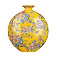 Chinese Vaas Handgeschilderd Geel B32xD12xH34cm