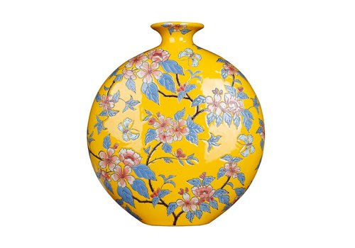 Fine Asianliving Chinese Vaas Porselein Handgeschilderd Geel B32xD12xH34cm