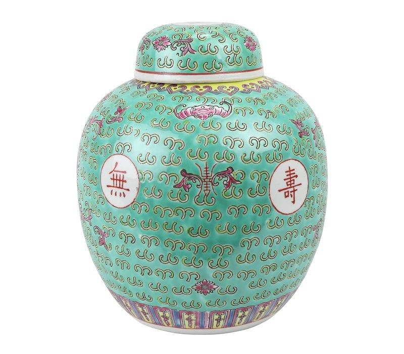 Pot à Gingembre Chinois Longévité Peint à la Main Vert D21xH25cm